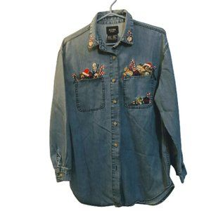 Vintage Solutions denim embroidered christmas shir